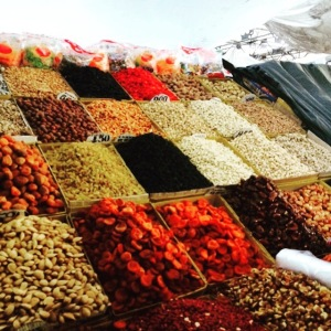 Dried fruit and nuts at Osh Bazaar