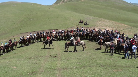 Horses line up while two horsemen attempt to force the other to dismount.