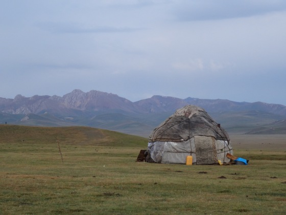 Yurt and mountains