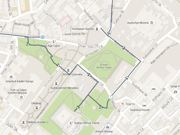 blue mosque walk route