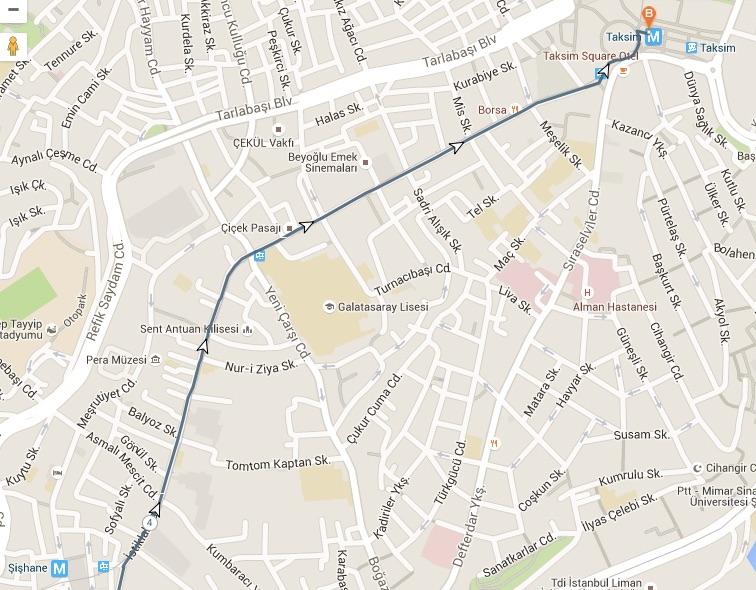 istiklal walk map